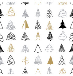 christmas seamless pattern silver and gold trees vector image