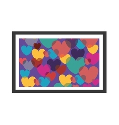 Colorful decorative picture frame with hearts vector