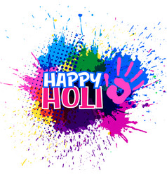 Colorful splashes for happy holi festival vector