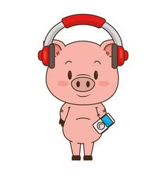 Cute little pig character vector