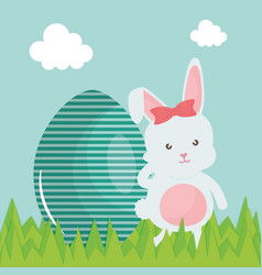 cute rabbit with easter egg painted in the camp vector image