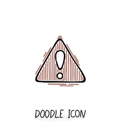 Doodle hazard warning sign with exclamation mark vector image