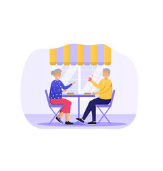 elderly couple are sitting in cafe vector image