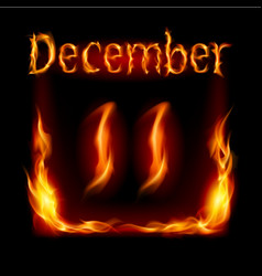 Eleventh december in calendar of fire icon on vector