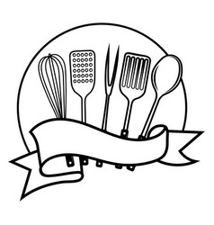 emblem for restaurant black and white vector image