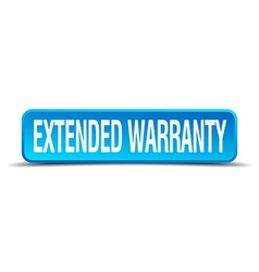 Extended warranty blue 3d realistic square vector
