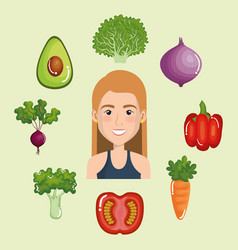 Female athlete with healthy food vector