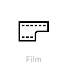 film icon flat editable outline vector image