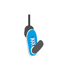 flat foot pressing gas brake pedal icon vector image