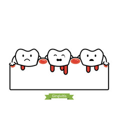 Gingivitis and bleeding - cartoon flat line style vector