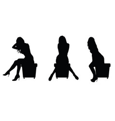 Girl silhouette sitting set in black vector