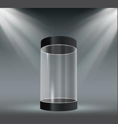 Glass cylinder showcase transparent plastic case vector