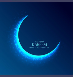 Glowing decorative moon design for ramadan kareem vector