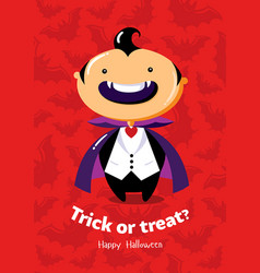 halloween poster trick or treat with vampire on vector image