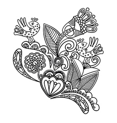Hand draw black flower and bird design vector