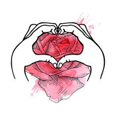 Hands represent the heart love vector