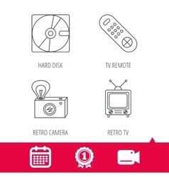 Hard disk retro camera and TV remote icons vector image