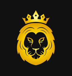 Head of a gold fierce crowned lion logo vector