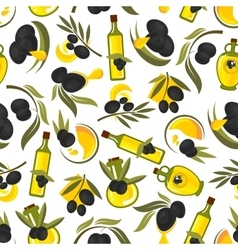 Healthful olive oil seamless pattern vector image
