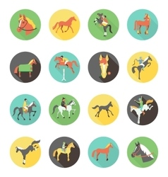 Horse icons set wild horses vector image