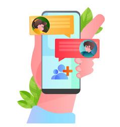 human hand using mobile chatting ap on smartphone vector image