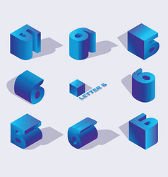 Isometric alphabet font russian letter b 3d vector