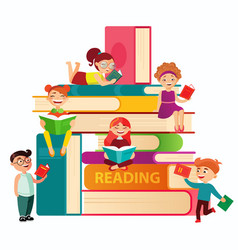 Kids reading on the big stack of books flat vector