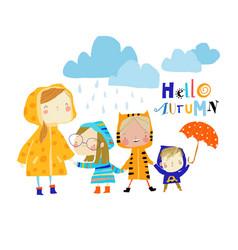 Kids wearing colorful raincoats vector