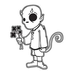 Little devil holding black flowers vector
