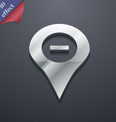 Minus Map pointer GPS location icon symbol 3D vector image