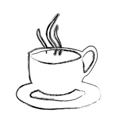 Monochrome sketch hand drawn of hot coffee cup on vector