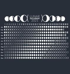 moon calendar lunar phases calendar 2021 poster vector image