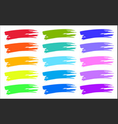 multicolored rainbow color brushstrokes prints set vector image