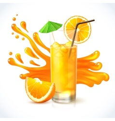 Orange juice ice vector image