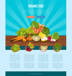 Organic farm food banner with vegetable vector