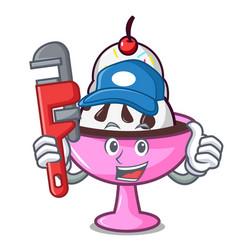 Plumber ice cream sundae mascot cartoon vector