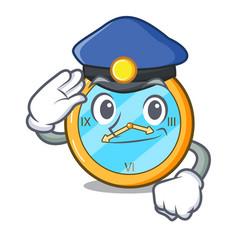 Police pocket vintage watch on a cartoon vector
