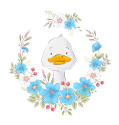 postcard poster a cute duckling in a wreath of vector image