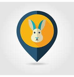 Rabbit flat pin map icon Animal head vector image