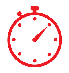 red stopwatch icon on white background flat vector image