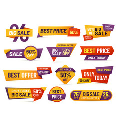 retail sale tags cheap price flyer best offer vector image