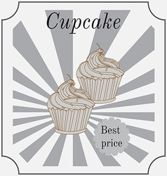 Retro cakes label vector image