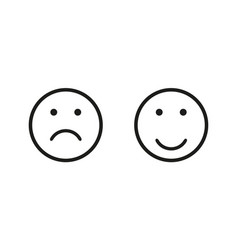 Sad and happy symbol isolated flat icon for wab vector