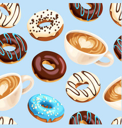 Seamless pattern with coffee and donuts vector