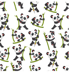 seamless pattern with panda playing vector image