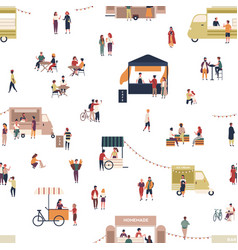seamless pattern with people walking among trucks vector image