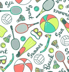 seamless pattern with sport icons - volleyball vector image