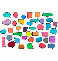 set comic stickers of comic speech bubbles vector image