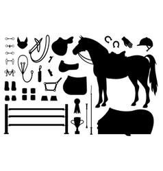 Set equestrian equipment silhouette vector