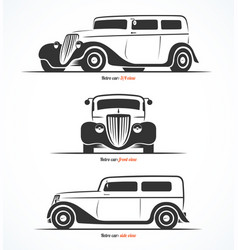 set retro car silhouettes vector image